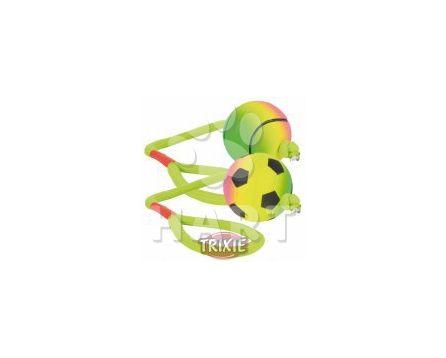 Neonový míček na šňůře, mechová guma, prům.6cm/dl.30cm TRIXIE
