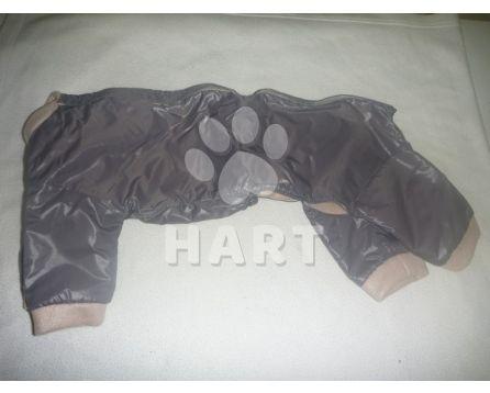 Kombinéza šusťák/fleece s límečkem č.6/ 45-46cm, barva šedá s fleecem béžovým