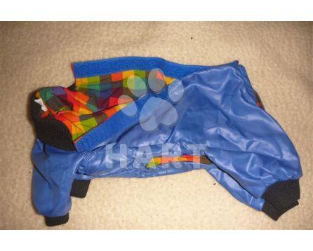 """Kombinéza """"Happy dog"""" vel.2, na cca 2kg yorkshire terrier/ 22-23cm, barva modrá a kostkované podšití"""