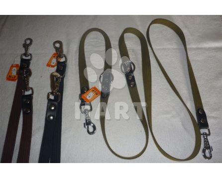 Vodítko přepínací -popruh bavlna/ kůže š.20mm/ dl.250cm, 2karabiny      1ks