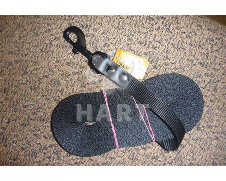 Vodítko stopovací dl.10m/š.2cm, černá barva, kožené zakončení