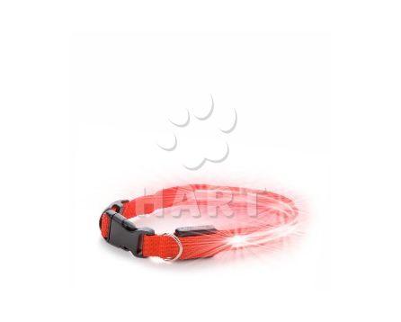 Nylonový LED obojek XS červený- vel29-37cm, š.2cm