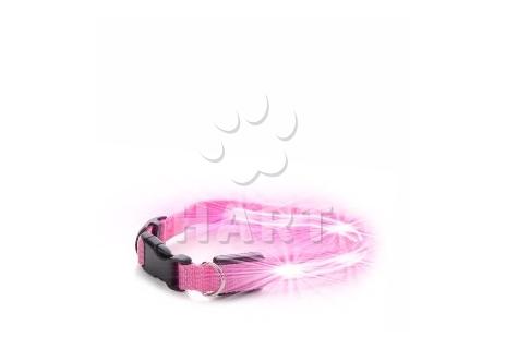Nylonový LED obojek XS růžový- vel29-37cm, š.2cm