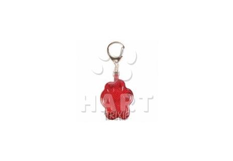 """Svítící přívěsek pro psy 4,5 x 3,5 cm červený TRIXIE(tvar """"packa"""")"""