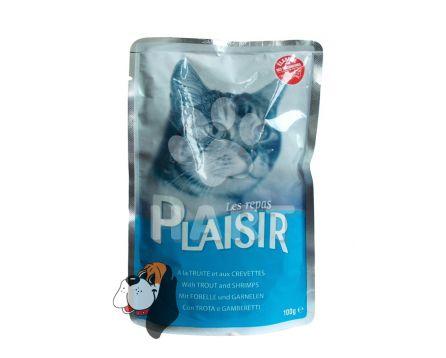 Kapsička Plaisir Cat pstruh + krevety 100g