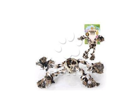 Přetahovadlo lanové - Jungle Toy kříž s tenisákem, velikost: 33 cm