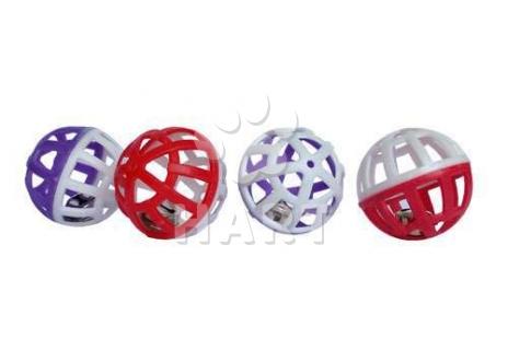 Mřížkované plastový míček s rolničkou prům. 4cm
