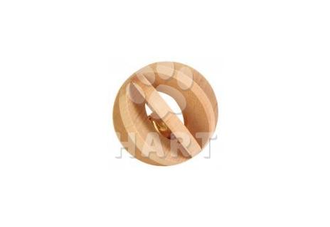 Lamelový míček dřevěný s rolničkou, hračka pro morče,králíka 1ks