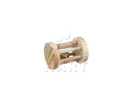 Dřevěný váleček s rolničkou hračka pro morče,králíka val.cca5x7 cm   1kc