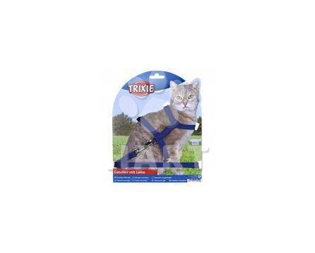 Postroj s vodítkem pro kočku jednobarevný 22-42cm/10mm 1,25m