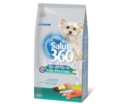 Benessere dog SALUTE 360 mini adult small RYBA(losos) + brambor 1,8kg