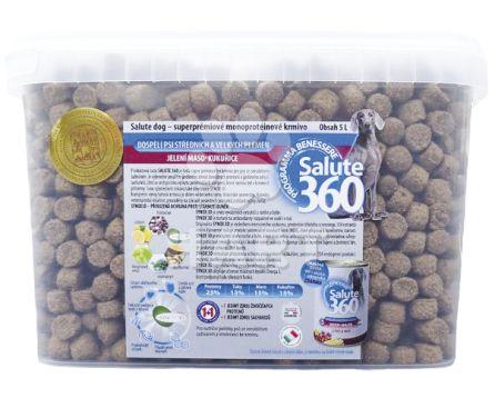 Benessere dog SALUTE 360 adult JELEN + kukuřice med/maxi 5L + KONZERVA zdarma + odměrka zdarma