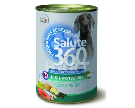 Konzerva SALUTE 360 dog Grain (bez obilovin) Free LOSOS+bramb.med./max. 5L