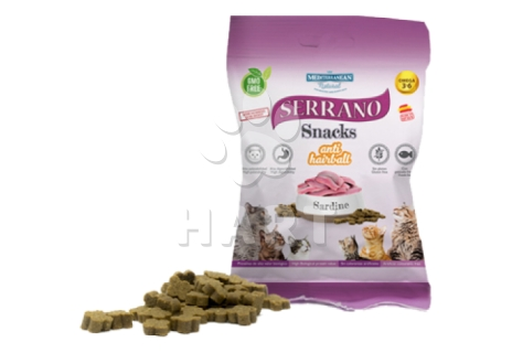 Pamlsky - Serrano Snack for Cat-Sardine(sardinky)-AntiHairball, 72%masa, bez lepku     100g