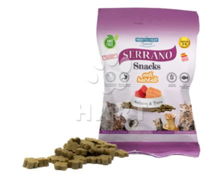 Pamlsky - Serrano Snack for Cat-Salmion+Tuna(losos a tuňák)-AntiHairball, 72%masa, bez lepku     50g