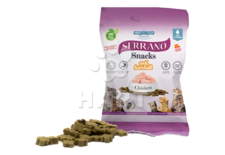 Pamlsky - Serrano Snack for Cat-Chicken(kuře)-AntiHairball, 72%masa, bez lepku     50g