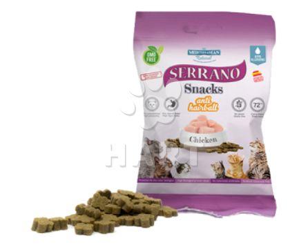 Pamlsky - Serrano Snack for Cat-Chicken(kuře)-AntiHairball, 72%masa, bez lepku     50g