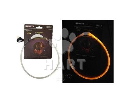 Svítící LED obojek-vel.-M-50cm, oranžová, dobíjecí(USB)