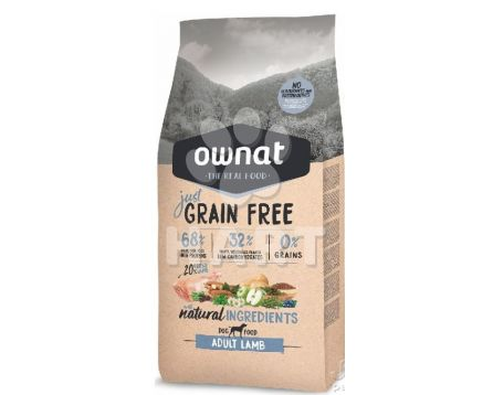 OWNAT Dog JUST GRAIN FREE Adult Lamb(jehně),bez obilovin, 60%masa    3kg