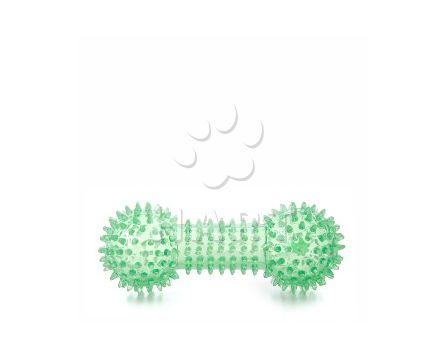 Činka s bodlinami zelená, odolná (gumová) pískací hračka z TPR, dl.15cm