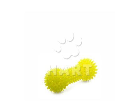 Žlutá činka s bodlinami, odolná (gumová) pískací hračka z TPR, dl.15cm
