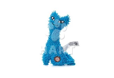 Kočka plyš modrá, plyšová pískací hračka, vel.23cm