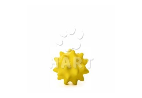 Vinylový míč s bodlinami žlutý, gumová hračka 9cm