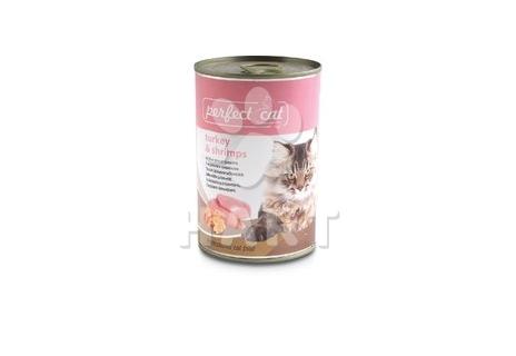Perfect Cat Turkey&Shrimps (krůtí&krevety), 400g