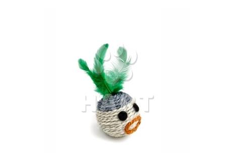 Chrastící hlava s peřím, sisalová hračka, vel.6cm