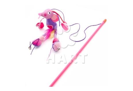 Plyšová myš na prutě, hračka, dl. prutu 40cm
