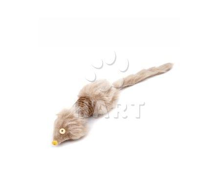 Myš dlouhá hnědá, provazová hračka, dl.28cm