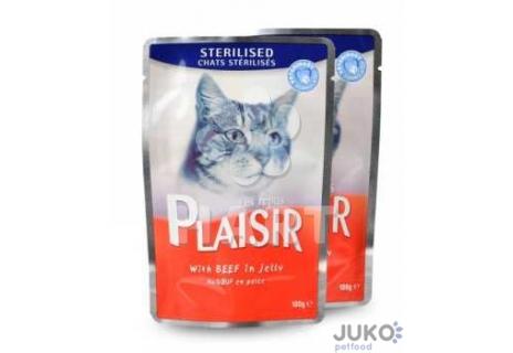 Plaisir Cat kapsička 100g STERILISED hovězí v želé