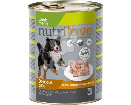 Nutrilove pes paté jehněčí, celkem 60% masa,  800g