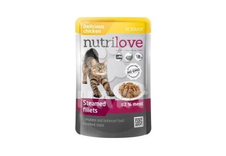 Nutrilove kočka kapsička, šťáva+ kuřecí 85g