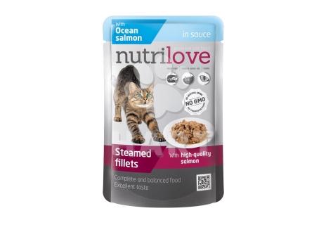 Nutrilove kočka kapsička, šťáva + losos 85g