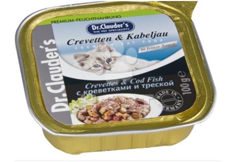 Dr.Clauder's - kousky masa, treska+krevety   100g, vanička