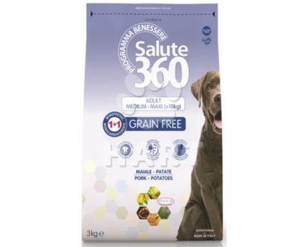 SALUTE 360 adult GF(bez obilovin)  vepřové + brambor  med./max. 12Kg