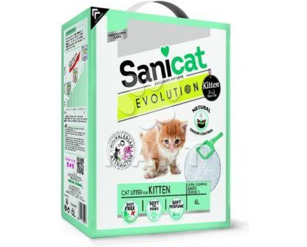 Stelivo SANICAT  EVOLUTION Kitten-pro koťata, bílý, jemný, hrudkující 6 L