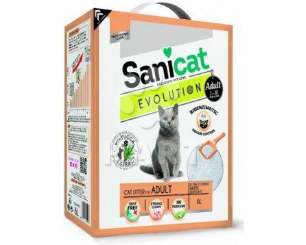 Stelivo SANICAT  EVOLUTION ADULT -pro dospělé kočky, bílý, jemný, hrudkující 6 L