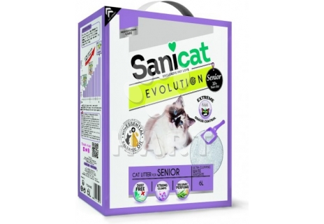 Stelivo SANICAT  EVOLUTION SENIOR  -pro starší kočky, bílý, jemný, hrudkující 6 L