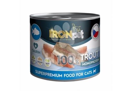 Konzerva IRONpet  Cat Trout (Pstruh) 100% Monoprotein,  200 g