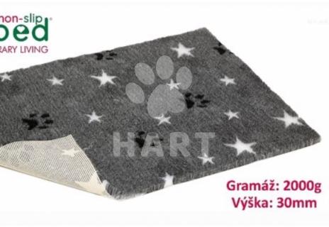 Poduška Vetbed protiskluz / Drybed vzor  šedá hvězda+packa  vel.100x75cm, gramáž 2000g, výška 30mm     1ks